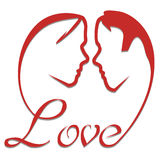 Love silhouette. Man and woman face grown from love script Royalty Free Stock Photography