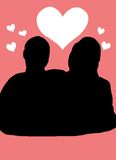 Love silhouette. Black silhouette of a man and woman, pink background Stock Image