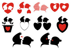 Love Silhouette Symbols Collection Stock Image