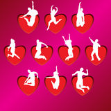 Love silhouettes. People silhouettes on background of hearts,  illustration Royalty Free Stock Images