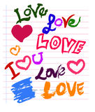 LOVE Sketch Colored Royalty Free Stock Photography