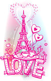 Love sketchy with Eiffel tower. Coffee and croissant Royalty Free Stock Photo
