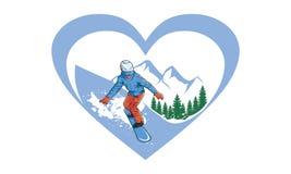 Love Ski man vector illustrations stock illustration