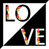 Love slogan with elements of flowers. stock illustration