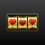 Love slot machine. Vector illustration of slot machine with the jackpot of Hearts stock illustration
