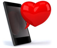 Love and smartphone Royalty Free Stock Photography