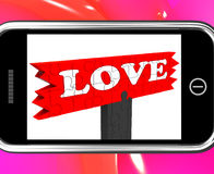 Love On Smartphone Shows Romance. And Feelings Stock Image