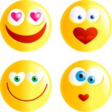 Love smilies. Set of funny faced cartoon emoticons with love heart shaped hearts or mouths Royalty Free Illustration
