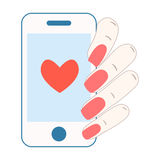 Love SMS. Phone in hand. Vector illustration Stock Image