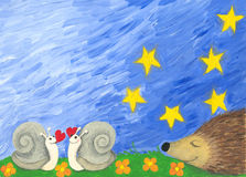 Love snails and a hedgehog Royalty Free Stock Photo