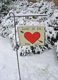 Love in the Snow. Valentine Slate in Snow Stock Photos