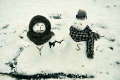 Love between snowman Royalty Free Stock Photo