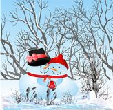 In love snowmen Royalty Free Stock Photos