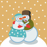 Love snowmen Royalty Free Stock Images