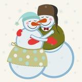Love snowmen. Love couple snowmen hugging each other Stock Photography