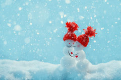 Love snowmen. Snowfall. Snow background. Love concept. Valentine Royalty Free Stock Images