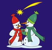 Love snowmen. Two happy snowmen and comet Royalty Free Stock Photos