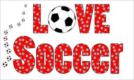 Love Soccer football background. A fun background of footballs / soccer balls with the words Love Soccer Royalty Free Stock Images