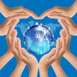 Love social network. Hands make heart shape on social network Royalty Free Stock Image