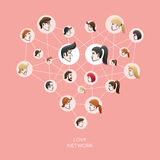 Love social network. Vector illustration of social network with people heads in the circles creating a love heart Stock Images