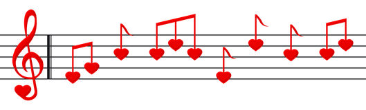 Love song. Music paper with heart shaped notes and clef Stock Photography