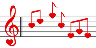 Love song 2. Music paper with heart shaped notes and clef Royalty Free Stock Photo