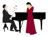 Love song. A man tells about his feelings to woman through plaing piano Stock Illustration