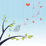 Love Song. /Bird singing a  with hearts and notes Stock Photo