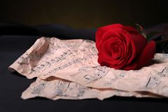 Love song. Red rose and score music royalty free stock image