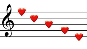 Love song. Graphical illustration of a love song music with hearts and music lines stock illustration