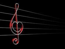 Love song. Symbol of love sound, treble clef stock illustration