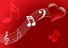 Love song. Treble love and music notes (vector) - illustration Royalty Free Stock Photo