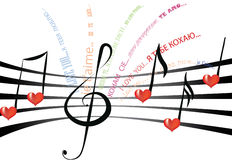 Love song in different languages Stock Image