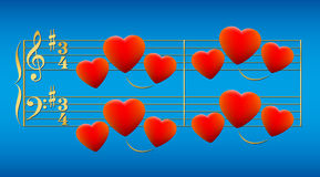 Love Song Hearts Gold Stock Photo