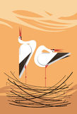 Love Song of storks in the nest. Minimalistic image Stock Images