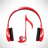 Love sound headphones Royalty Free Stock Image