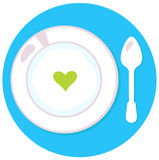 Healthy soup with heart. Love soup isolated on blue. Vector Illustration Stock Photo