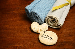 Love and spa products or wash cloths Stock Photo