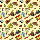 Love Spain, doodles symbols pattern of Spain. Stock Image