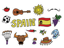 Love Spain, doodles symbols of Spain. Stock Photos