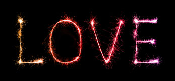 Love sparkle Fireworks celebrating at night Royalty Free Stock Images