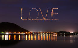 Love sparkle Fireworks celebrating over bridge of Lake Kawaguchi Royalty Free Stock Photography