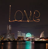 Love sparkle Fireworks celebrating over marina bay in Yokohama C Stock Image