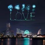 Love sparkle Fireworks celebrating over marina bay in Yokohama C Royalty Free Stock Photos