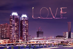 Love sparkle Fireworks celebrating over Odaiba, Japan Royalty Free Stock Images