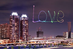 Love sparkle Fireworks celebrating over Odaiba, Japan Royalty Free Stock Photo