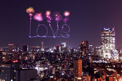 Love sparkle Fireworks celebrating over Tokyo cityscape at night Royalty Free Stock Photography
