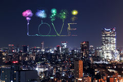 Love sparkle Fireworks celebrating over Tokyo cityscape at night Stock Images