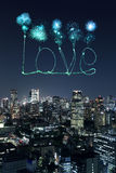 Love sparkle Fireworks celebrating over Tokyo cityscape at night Royalty Free Stock Image