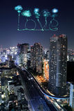 Love sparkle Fireworks celebrating over Tokyo cityscape at night Royalty Free Stock Photo